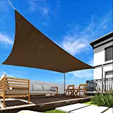 Windscreen4less 8' x 12' Rectangle Sun Shade Sail - Brown with Black Strips Durable UV Shelter Canopy for Patio Outdoor Backyard - Custom