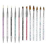 VEGCOO 12Pcs Pinceles para Arte de Uñas, Pincel Acrilico Uñas y Plumas de Uñas, Nail Art Cepillo Pintura Punteado de Gel para Decoración de...