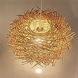 Malovecf Plafonnier LED Structure en nid d'oiseau tressé en rotin à la...