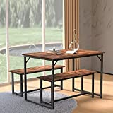 HOMFY 3 Piece Dining Table Set with 2 Benches 55 inch Wooden Kitchen Table for Home, Kitchen, Dining Room, Small Space with Storage Racks (Retro)