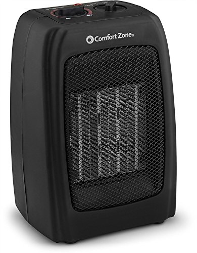 BOVADO USA Portable 166648 Ceramic Space Heater, Personal Warming Fan with Adjustable Thermostat, Carrying Handle & Safety Features-by Comfort Zone (Black), 10 x 6 x 6