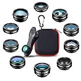 Patasen 10 in 1 Lenti per Cellulare Kit Obiettivo Fotocamera grandangolare Macro fisheye teleobiettivo Caleidoscopio CPL/Flow/Star/Filtro Radiale per...