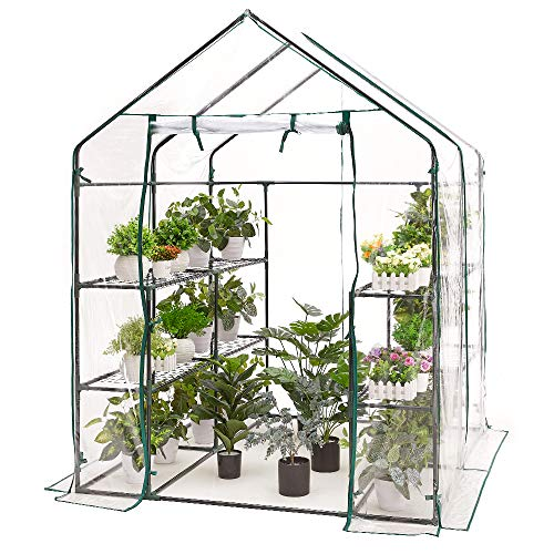 AMERLIFE Mini Walk-in Greenhouse Indoor Outdoor 3 Tier 8 Shelves with PVC Cover and Roll-Up Zipper Door Extra Hooks and Wind Ropes, 77''x56''x56''