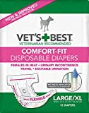 Vet's Best Diapers for Female Dogs, Comfort-Fit Disposable, Large/X-Large, 12...