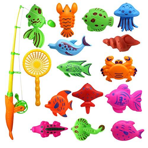 FunPa Gioco della Pesca, 16Pezzi Canne da Pesca Giocattolo, Gioco di pesca per bambini Impermeabile Gioco Educativo di Bagno Giocattolo