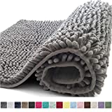 Kangaroo Plush Luxury Chenille Bath Rug, 36x24, Extra Soft and Absorbent Shaggy Bathroom Mat Rugs, Washable, Strong Underside, Plush Carpet Mats for Children's Tub, Shower and Bath Room, Gray