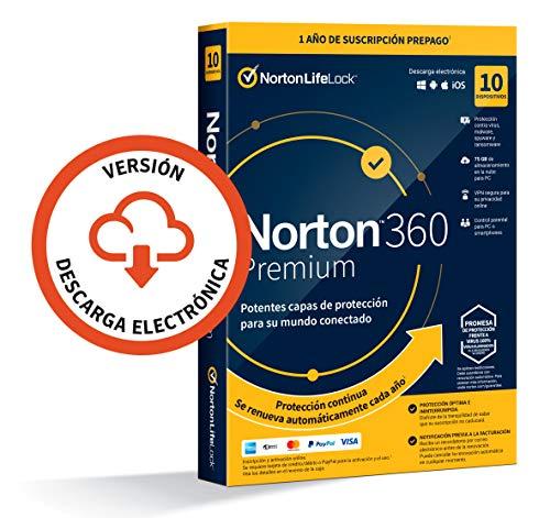 Norton 360 Premium 2021 - Antivirus software para 10 Dispositivos y 1 año de suscripción con renovación automática, Secure VPN y Gestor de contraseñas, para PC, Mac tableta y smartphone