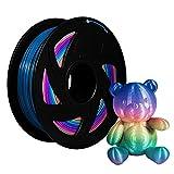 XVICO PLA Filaments Rainbow 3D Printer pla spools,1.75mm Filament 2.2 LBS 1KG, Rainbow Color