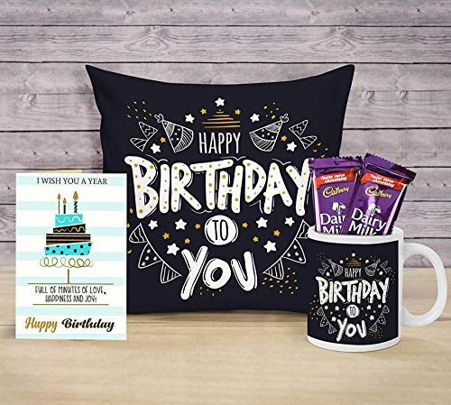 TIED RIBBONS Birthday Gifts Combo for Boyfriend Girlfriend Girls Boys Friend (Coffee Mug, Cushion Cover with Filler (12 X 12 Inch), Greeting Card and Chocolates)