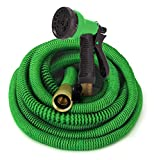 GrowGreen Expandable Garden Hose with High Pressure Hose Spray Nozzle, All Brass Connectors, Leak Proof, Heavy Duty Material