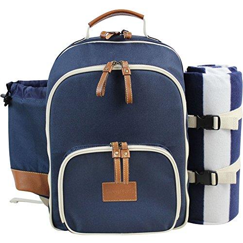 INNO STAGE Große Isolierte Picknick-Rucksack für 4 Personen, mit mit Edelstahl Besteck-Set, geräumige Kühlfach, Flaschenhalter und große Wasserdichte Matte Marineblau MEHRWEG