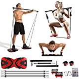 Portable Home Gym with Heavy Resistance Bands Ab Roller Wheel Pulleys and More Full-Body Workout Equipment for Home Gym Equipment Build Muscle and Burn Fat Men Women (Black&Red)