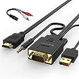 Câble Adaptateur VGA vers HDMI 1.8M (Ancien PC de Style à Nouvelle TV/Moniteur...