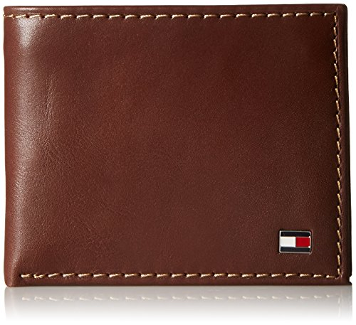 Tommy Hilfiger Men's Leather Wallet - Bifold Trifold Hybrid Flip Pocket Extra Capacity Casual Slim Thin for Travel,Tan with Zipper