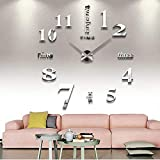 CoZroom Large Silver 3D Frameless Wall Clock Stickers DIY Wall Decoration for Living Room Bedroom