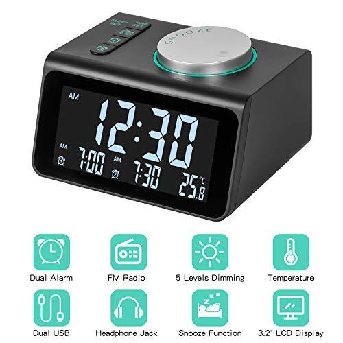 m zimoon Radiowecker, FM Digitaler Wecker mit Dual USB-Anschlüssen, Temperaturanzeige, Dual Alarm mit 7 Alarmtönen, 5 Einstellbare Helligkeit für Büroreisen Schlafzimmer