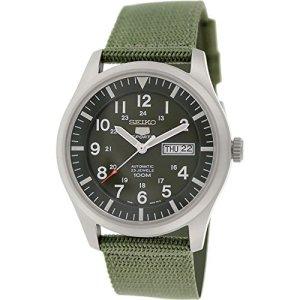 Seiko 5 Men's SNZG09K1 Sport Analog Automatic Khaki Green Canvas Watch 10