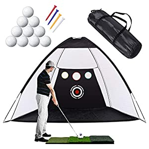 5-in-1 Hitting Net Set: Come with golf hitting net,4pcs golf tees,10pcs golf balls, grass pad and carry case.The practice net features 1 large target and 3 chipping target pockets to practice your skills like Swing, Hitting and Chipping, etc. An outs...
