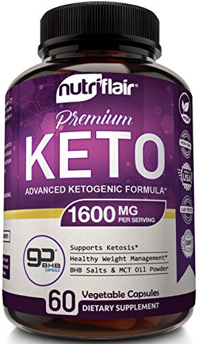 NutriFlair Keto Diet Pills 1600mg - Advanced Ketosis Supplement - Natural BHB Salts (beta hydroxybutyrate) with MCT Oil Powder, Utilize Fat for Energy, Boost Focus - Best Keto Pills for Women and Men 3