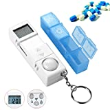 CozyCabin Digital Pill Box Timer Reminder, 7-Day Travel Pill Container Dispenser Medicine Organizer with Alarm (Blue)