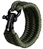 The Friendly Swede Bracelet de Survie Trilobite en Paracorde avec Maillon d'attache Noir en Acier Inoxydable -...
