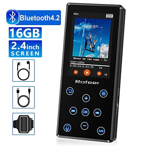 MP3 Player, 16GB MP3 Player mit Bluetooth 4.2 HiFi verlustfreiem Klang Digitaler Download Musik Radio Sprachrekorder E-Book 2.4in LCD, Unterstützung bis zu 128GB mit Kopfhörer & Armband für Sport