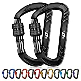 Rhino Produxs 2PCS of 12kN (2697 lbs) Heavy Duty Lightweight Locking Carabiner Clips - Excellent for Securing Pets, Outdoor, Camping, Hiking, Hammock, Dog Leash Harness, Keychains