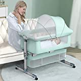 Bedside Crib Bedside Sleeper, Baby Bassinet with Mattress and Breathable Net, 6 Height Adjustable...