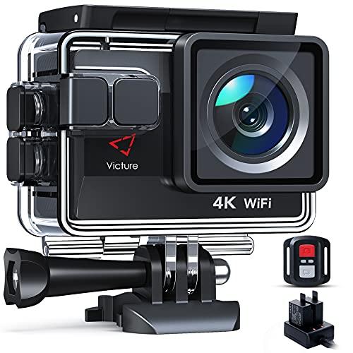 Victure 4K50FPS Action Cam 20MP WiFi con Controllo Remoto Fotocamera Subacquea Impermeabile 40M Sport Camera con Caricatore e 2 Batterie Accessori