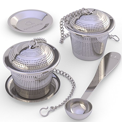 Loose Leaf Tea Infuser (Set of 2) with Tea Scoop and Drip Dray by Apace - Ultra Fine Stainless Steel Strainer & Steeper for a Superior Brewing Experience