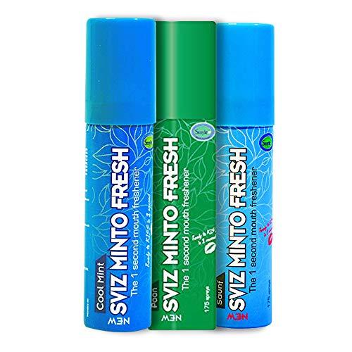Smyle Sviz Minto Mouthfreshner Spray 15 gm- Pack of 3's (Cool Mint, Paan, Saunf) Spray