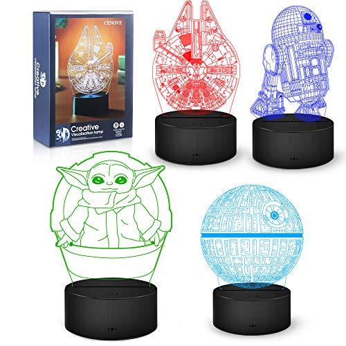 Star Wars Geschenke Nachtlicht, 16 Farbwechsel 3D Dekor Lampe mit Fernbedienung, Perfekte Spielzeug...