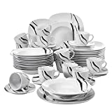 VEWEET Teresa 60pcs Service de Table Porcelaine 12pcs Assiette...