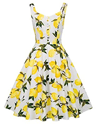 This 1950s dress has decoration buttons in the front, fashion and chic Belle Poque vintage dress; sleeveless, v neck, with sexy open back CLassy floral pattern for this retro dress, and the waist party has pleated elastic band to shows your curve Occ...