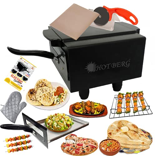 HOTBERG Small Electric Tandoor with Pizza Cutter, Magic Cloth, Aluminium Tray, Shock Proof Rubber...
