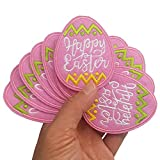 2'x3' 12pcs Happy Easter Pink Egg Iron On Sew On Embroidered Patches Appliques Machine Embroidery Needlecraft Sewing Project Craft