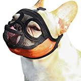 TANDD Short Snout Dog Muzzle - Adjustable Breathable Mesh Bulldog Muzzle for Barking Biting Chewing Training