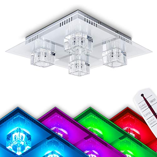 Quadratische LED Deckenleuchte Glas – LED Farbwechsler, Fernbedienung – Deckenlampe aus Glas mit kreisförmigem Dekors – 4 x G9-Fassungen – 6 x 0,24 Watt RBGs – auch als Wandleuchte nutzbar – Wandlampe