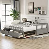 SOFTSEA Wooden Daybed with Pop Up Trundle and Two Storage Drawers, Extendable Daybed with Storages Twin Sofa Bed for Bedroom Living Room
