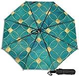 Paraguas de viaje a prueba de viento protección UV (textura abstracta de purpurina de color turquesa y dorado)