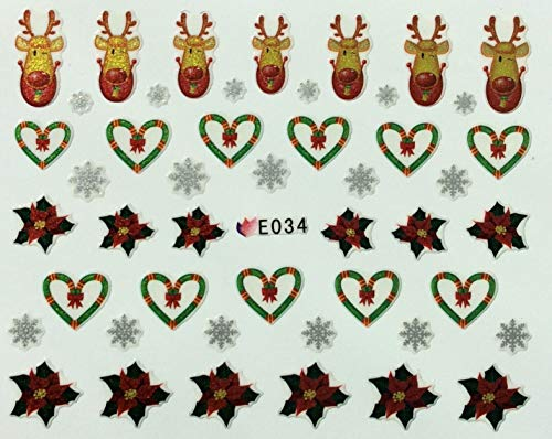 Nail Art 3D Decal Stickers Christmas Reindeer Hearts Snowflakes Poinsettia E034