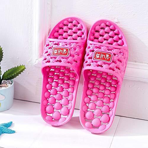 B/H Zapatillas de Masaje para Mujer,Zapatillas Antideslizantes para baño, Zapatillas de Masaje con Fondo de Goma Suave-Rose Red_44-45