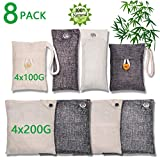Bamboo Charcoal Air Purifying Bag (8 Pack), 200g,100g Natural Air Freshener Bags, Activated Charcoal Odor Eliminators, Car Air Purifier, Closet Freshener, Home Air Freshener