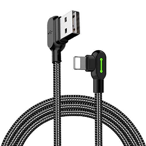 Mcdodo - Cavo USB ad angolo retto con luce LED, cavo di ricarica a 90 gradi, in nylon intrecciato,...
