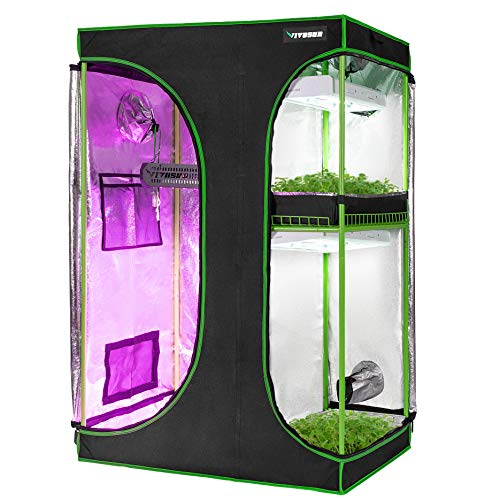 """VIVOSUN 2-in-1 48""""x36""""x72"""" Mylar Reflective Grow Tent for Indoor Hydroponic Growing System"""