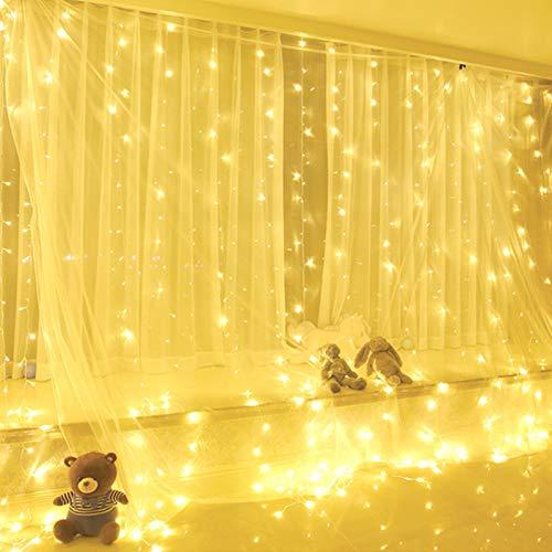 Yizhet Tenda Luminosa 3x3m 300 LED Natale Tenda Luci, Impermeabile IP44 Luci per Tende con Telecomando 8 Modalit Stringa Luce Catena per Esterni, Interni, Camera da Letto, Giardino (Bianco Caldo)