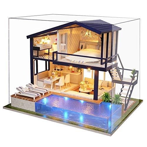 Hakeeta Casa delle Bambole in Legno di Design Fai-da-Te, con luci + Piscina, Miniatura con Tutti i...