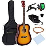 Best Choice Products 41in Full Size Beginner All Wood Acoustic Guitar Starter Set w/Case, Strap, Capo, Strings, Picks, Tuner - Sunburst
