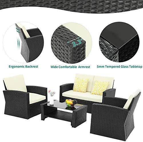 YITAHOME 4 Pieces Outdoor Furniture Sofa Set, PE Rattan Wicker Sectional Furniture Conversation Set with Cushions and Table for Porch Lawn Garden, Black