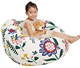 Great Eagle 52x48 in (Flat Size) Extra Large 100% Cotton Canvas Kids Stuffed Animals Storage Bean Bag Chair Cover Only for Toddlers,Kids,Teens and Adults(White/Sun Flower)